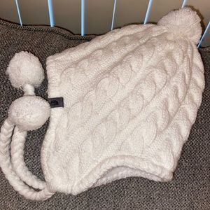 White fuzzy ear flap North Face Hat